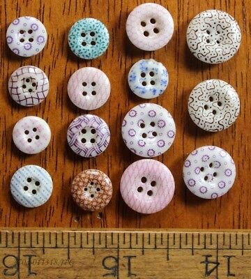 Lot of 15 Antique China Calico Stencil Buttons Assorted Colors and Sizes