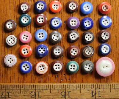 Lot of 33 Antique Ringer, Solid Body China Buttons Assorted Colors and Sizes