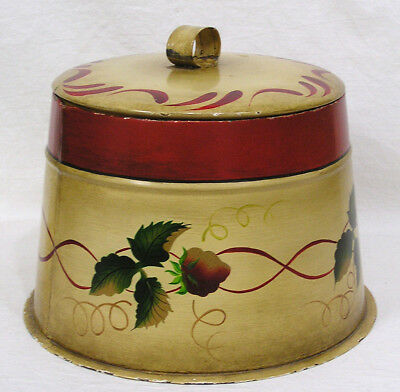 Vtg Toleware Covered Tin Cookie Jar Flour Canister HP Red Strawberries on Yellow