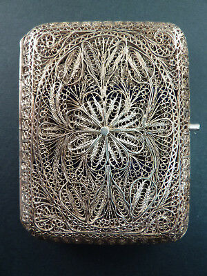 Fine Filigree Silver Cigarette Case Or Card Case