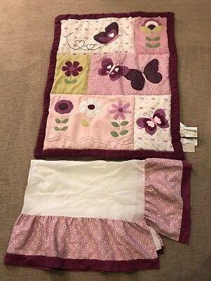 Lambs Ivy Bedtime Originals Pink Maroon Flower Butterfly 2 Piece