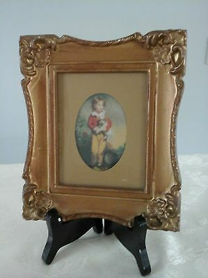 Picture Frame & Easel French Boy With Dog by Artist C. Bremont Vintage Print