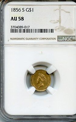 1856-S $1 Gold Piece Indian Head Ngc Graded Au 58