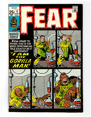 FEAR # 5 in VF+ condition  Marvel Horror Comic 1971 with JACK KIRBY art