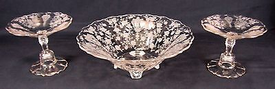 Cambridge Rose Point Console Set ( Large Bowl with 2 Comports or Candlesticks )