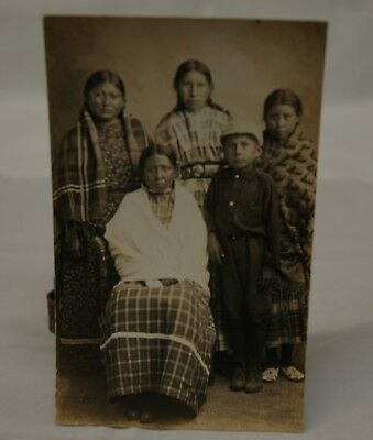 Native American Indian 5 Youth Rppc Postcard Azo 1904-18 Era Excellent