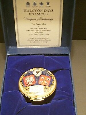 Halcyon Days Enamels THE STATE VISIT QUEEN AND DUKE TO RUSSIA 28/100 RARE