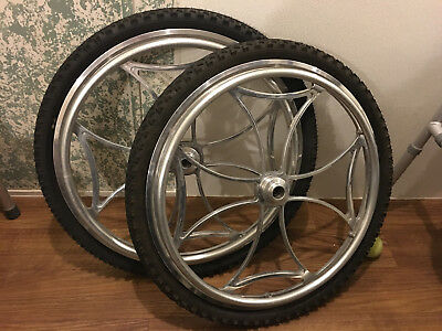 """Glance 25"""" Custom alloy wheelchair wheels with all terrain tires Top End Quickie"""
