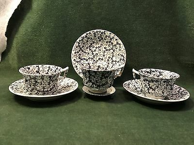 3 Matching Cups and saucers, Black/mulberry transferware, BRUT by W.Smith, 1800s
