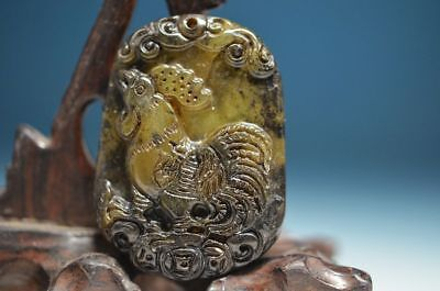Excellent Chinese old jade hand-Carved *chickens* Pendant  ha4