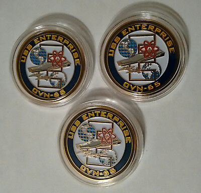 USS ENTERPRISE BIG E CVN-65 Command Master Chief CMC CPO Lot- 3 Challenge Coins