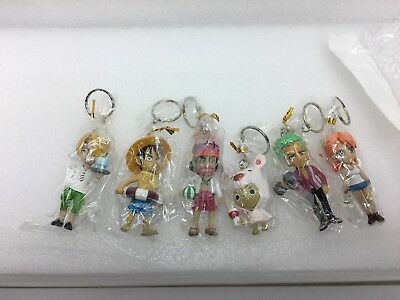 BANDAI One Piece Anime Film Gold Keychain Gashapon Figures 6 Itemes ~ Free Ship!