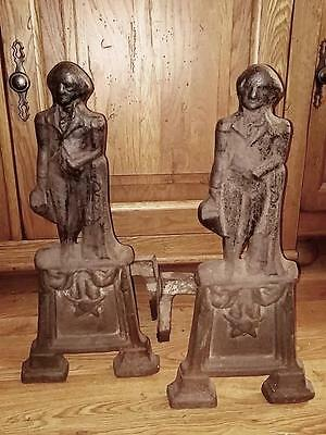 Antique AUTHENTIC 19th Century GEORGE WASHINGTON ANDIRONS FIRE PLACE DOGS