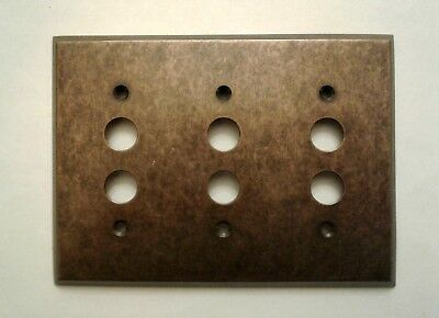 New  3 - Gang  Push  Button  Traditional  Forged  Brass  Switch  Plate  W/screws