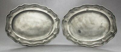Antique Georgian pair 2 small oval pewter dish alms church plate touch marks