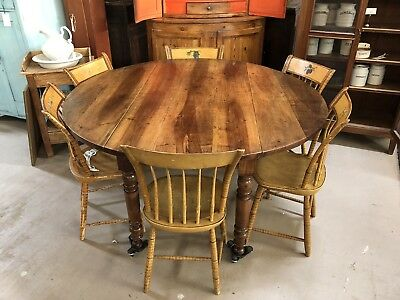Antique French Provincial Country Kitchen Farm Drop-Leaf Walnut Dining Table