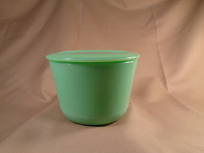 """McKee Jadeite green glass round canister jar with lid,  signed McK, 3 1/2"""" tall"""