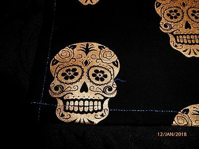 Tarot or Altar cloth Gold sugar skulls, blue metallic thread approx. 40cm x 40cm
