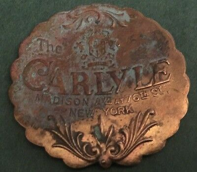 Antique Brass New York City The Carlyle Hotel Key Fob Historic Central Park Nyc!