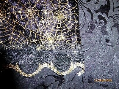 Tarot or Altar cloth Wicked Web Black velvet, Gold metallic approx. 47cm x 40cm