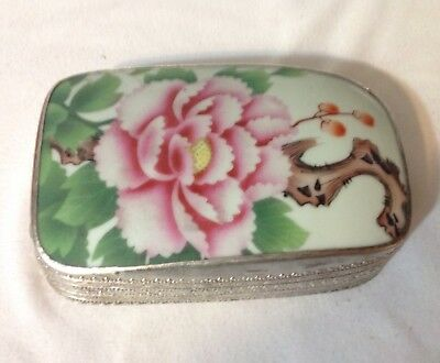 Vintage Chinese Shard Box Silver Plate With Porcelain Lid