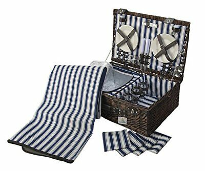 4 Person Wicker Picnic Basket Deluxe Woven Willow Vintage Hamper Set - Porcel...