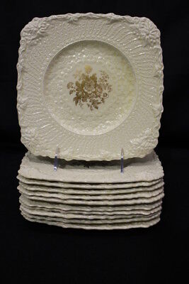 11pc Vintage Royal Cauldon OLD CHESTER Embossed GOLD FLORAL Square Plates