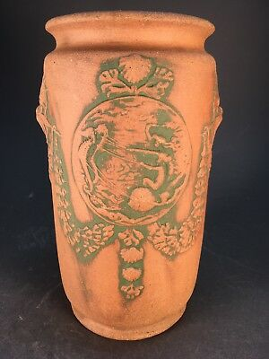 Rare WELLER ATHENS Vase Old Arts and Crafts POTTERY Aquatic Panel with Mermaids