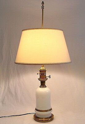 RARE Stiffel Opaline Glass Desk Table Lamp Vintage Hollywood Regency Orig Shade