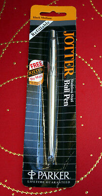 Vintage Parker Jotter Stainless Steel Pen, New old stock Black Ink, Perfect