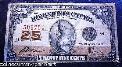 "1923 Dominion of Canada 25 cents  ""Shinplaster"" Fractional currency  #509704"