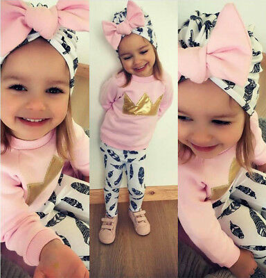 3Pcs Newborn Toddler Baby Girls Clothes Pink Crown Tops T-shirt Pants Outfits