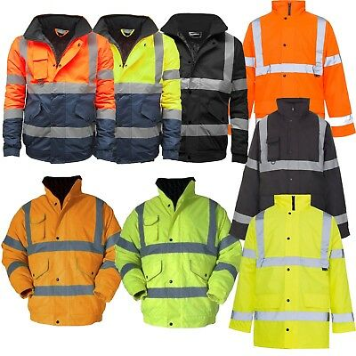 Hi Viz High Visibility Waterproof Bomber Safety Work Yellow Orange Jacket Coat