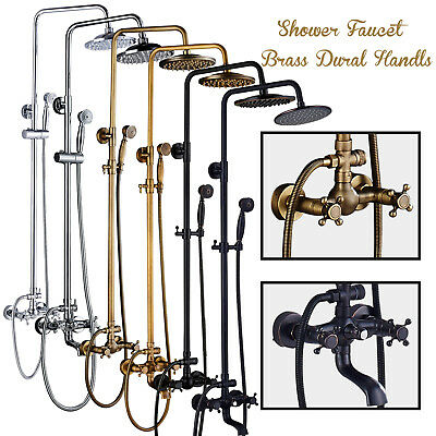 Dual Cross Handles Bath Shower Faucet Complete Kit Rain Head Sprayer Mixing Tap
