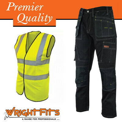 Men Work Cargo Trouser Black Pro Heavy Duty Multi Pockets & Knee Pad Pockets
