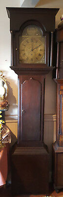 18thC Brass Faced Grandfather Clock Thomas Morpeth Hexham Delivery arranged