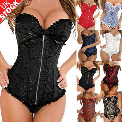 Sexy Women Lace Up Bustier Basque Corset Lingerie Burlesque Fancy Dress+G-String