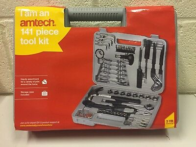 Am-Tech 141 Pieces Tool Kit with Socket,Screwdriver,Hammer,Wrench,Pliers & Case