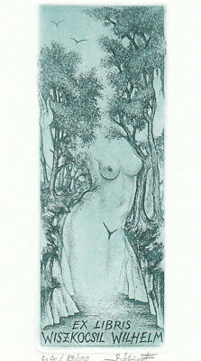 Ferenc BALINT (H) Weibl. Akt Exlibris Erotic Nude Tree Etching C3 C5 signed 1985