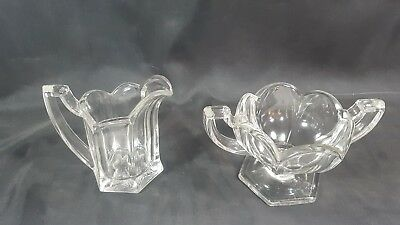 Vintage Davidson Art Deco Chippendale Style Glass Milk Jug and Sugar Bowl