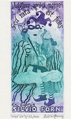 Ferenc BALINT (H) Fasching Carneval Exlibris Masked Ball Etching C3 C5 signed