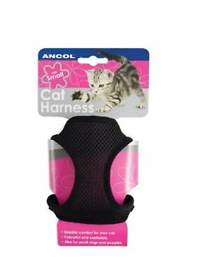 Ancol Soft Cat Harness and Lead Also for Small Dogs and Puppies Black Small