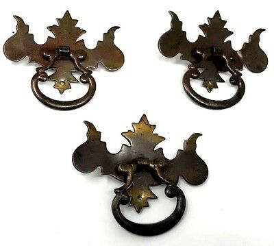 Lot 3 Antique Chippendale Batwing Brass Copper Dresser Drawer Pulls Handles