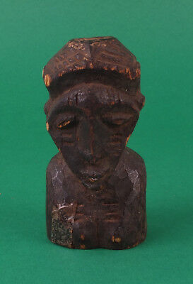 Old African Tribal Art Carved Wood Figure Statue Head Bust