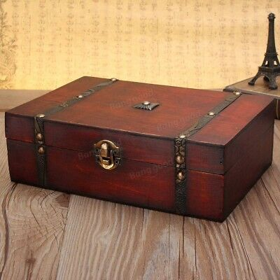 Large Vintage Wooden Storage Present Candy Gift Box Wedding Party Jewelry Gift