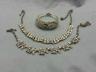 Lot of (3) - 2 Vintage Rhinestone Necklaces and 1 Bracelet white red