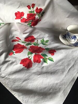 Vintage Mid Century Wilendure White Printed Cotton Tablecloth w/ Roses