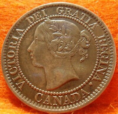 1859 XF-AU High-Grade CANADA LARGE CENT Victoria COIN NoRes CANADIAN RECUT G