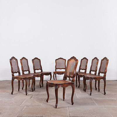 Early 20th Century Set of Eight French Fruitwood Dining Chairs. Antique Seating.