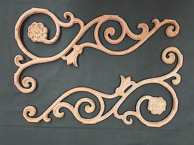 Architectural Salvage Cast Iron Scrolls Daisies & Tulips Plaques Set of 2